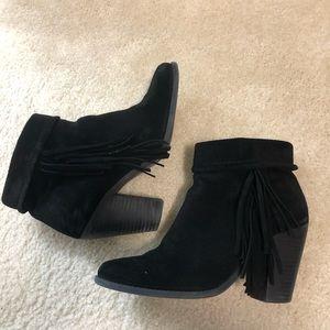 Jessica Simpson black fringe Booties